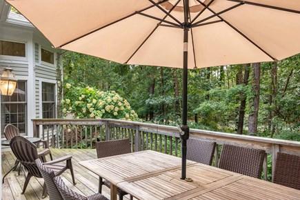 Vineyard Haven Martha's Vineyard vacation rental - First Floor Deck Overlooks Tree Studded Lot