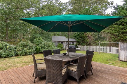 Vineyard Haven Martha's Vineyard vacation rental - Backyard Deck is Set Up for Outdoor Dining and Entertaining