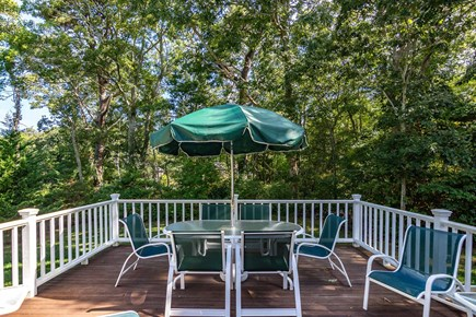 Vineyard Haven Martha's Vineyard vacation rental - Large Deck Overlooks Backyard with Outdoor Dining