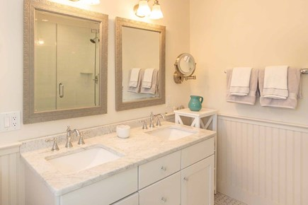 West Tisbury Martha's Vineyard vacation rental - Master Bath Has Double Vanity, Glass Walk-In Shower