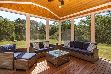 West Tisbury Martha's Vineyard vacation rental - Large Screened Porch Has Vaulted Ceilings & Expansive Views