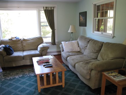Edgartown Martha's Vineyard vacation rental - Comfortable, sunny living room with Flatscreen TV.