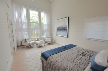 Oak Bluffs Martha's Vineyard vacation rental - 2nd floor master bedroom w/tall windows overlooking spa and pool