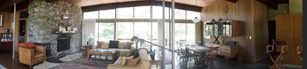 Chilmark Martha's Vineyard vacation rental - Panorama of Great Room looking South to adjoining terrace
