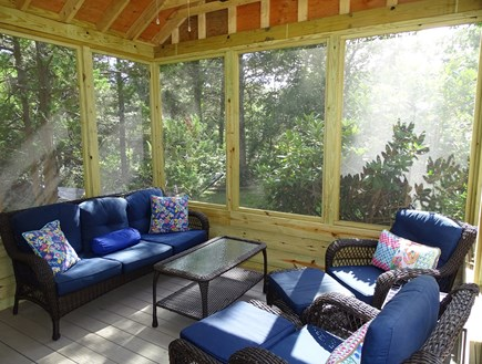 West Tisbury Martha's Vineyard vacation rental - New screened-in porch with ceiling fan
