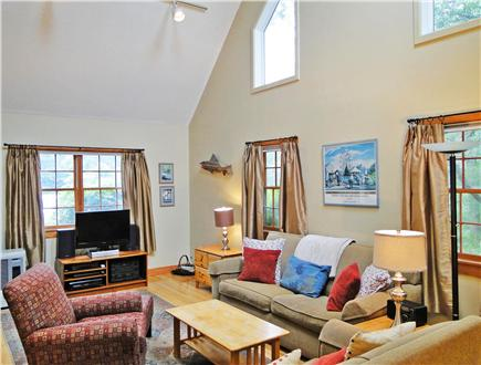 West Tisbury Martha's Vineyard vacation rental - Comfortable living room with flatscreen tv, vaulted ceilings