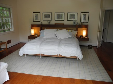 Chappaquiddick, Edgartown Martha's Vineyard vacation rental - Main Bedroom, high ceilings, skylight, access to exterior decks