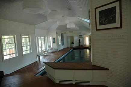 Chappaquiddick, Edgartown Martha's Vineyard vacation rental - Indoor Lap Pool Looking North, teak deck, high ceilings, well lit