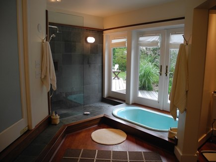 Chappaquiddick, Edgartown Martha's Vineyard vacation rental - Master Bath Indoor/outdoor bath, shower, doors to exterior deck