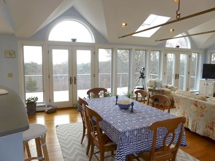 Chilmark Martha's Vineyard vacation rental - Dining area with two french doors to large deck