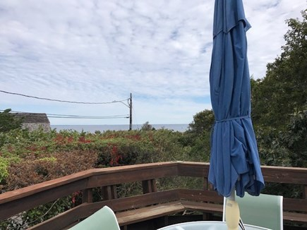 Oak Bluffs Martha's Vineyard vacation rental - View from large deck with dining table and comfortable chairs