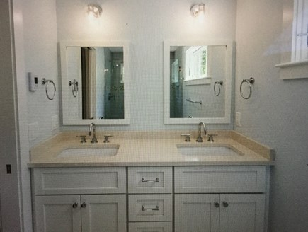 Katama - Edgartown Martha's Vineyard vacation rental - Second floor master bathroom - double sinks and glass tile shower