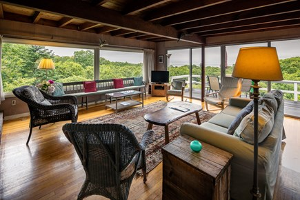 Aquinnah Martha's Vineyard vacation rental - Living room - large space for entertaining, light and airy