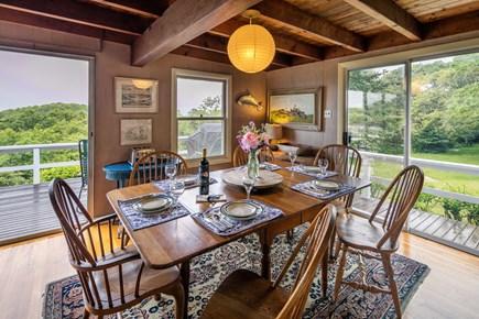 Aquinnah Martha's Vineyard vacation rental - Dining room. Seats 10 comfortably.Opens to deck