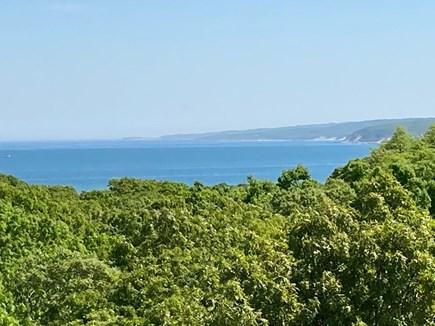 Aquinnah Martha's Vineyard vacation rental - Panoramic water view from deck and living room