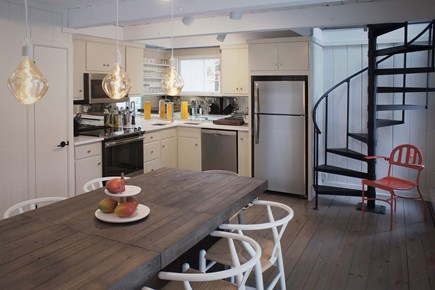 Oak Bluffs, Waterview Farms Martha's Vineyard vacation rental - Open updated kitchen with spiral stair to additional living above
