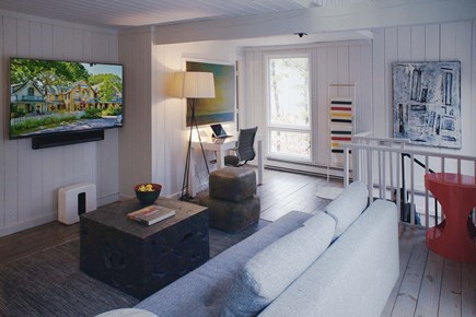 Oak Bluffs, Waterview Farms Martha's Vineyard vacation rental - Media/Living room with surround sound open to balcony