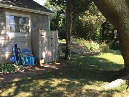oak bluffs Martha's Vineyard vacation rental - Beach chairs/umbrellas, outdoor shower and a hammock!