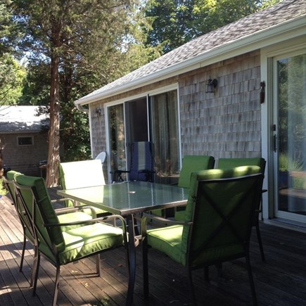 oak bluffs Martha's Vineyard vacation rental - Back of house. Deck runs the full length of the cottage!