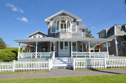 Oak Bluffs Martha's Vineyard vacation rental - Front of home w/large porch and attached guest house to the left.