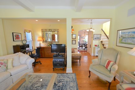 Oak Bluffs Martha's Vineyard vacation rental - Living room looking into dining room with writing desk and art