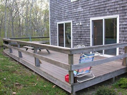 Edgartown Martha's Vineyard vacation rental - Deck with charcoal grill & picnic table.  More furniture coming.