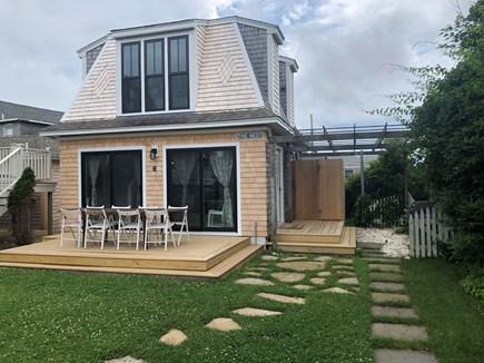 Oak Bluffs Martha's Vineyard vacation rental - Outdoor deck, dining and enclosed outdoor shower.