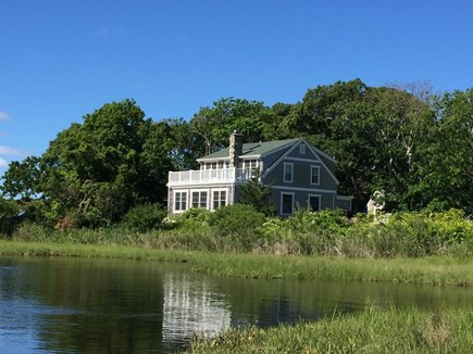 Oak Bluffs, On Farm Pond Martha's Vineyard vacation rental - Front view of house from the water.