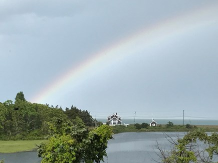 Oak Bluffs, On Farm Pond Martha's Vineyard vacation rental - View from upstairs porch with rainbow