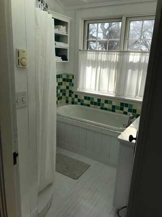 Oak Bluffs, On Farm Pond Martha's Vineyard vacation rental - Upstairs full bath with tub under skylight, and tiled shower