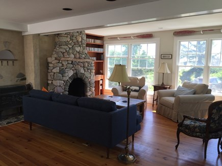 Oak Bluffs, On Farm Pond Martha's Vineyard vacation rental - Living room with unique Lew French beachstone fireplace
