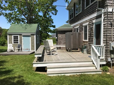 Oak Bluffs, On Farm Pond Martha's Vineyard vacation rental - Back porch and shed (bikes, etc). Gas grill is just off the porch