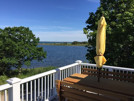 Oak Bluffs, On Farm Pond Martha's Vineyard vacation rental - Upstairs porch northeast across beach barrier to Nantucket Sound