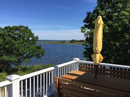 Oak Bluffs, On Farm Pond Martha's Vineyard vacation rental - Upstairs porch northeast across beach barrier to Nantucket Sound
