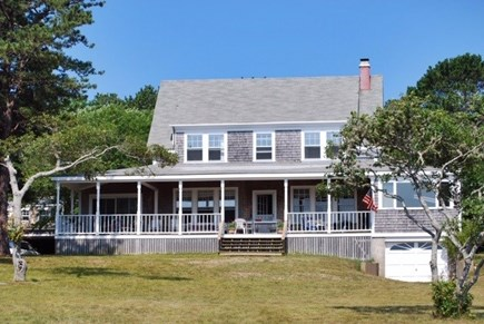 Chilmark Martha's Vineyard vacation rental - View from the pond of the main house and large porch.