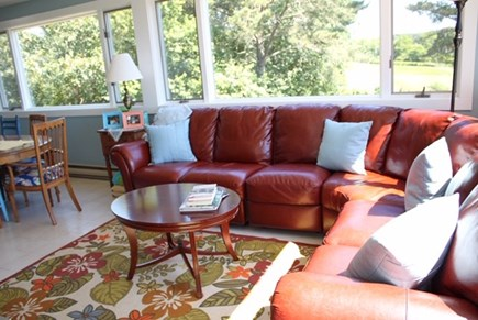 Chilmark Martha's Vineyard vacation rental - Move from the kitchen to a family/TV area with a view.
