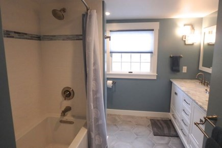 Chilmark Martha's Vineyard vacation rental - Updated bathroom with double vanity and bathtub.