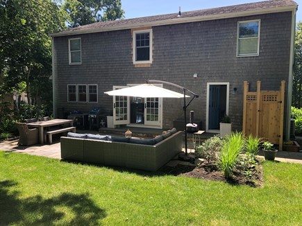 Oak Bluffs Martha's Vineyard vacation rental - Bluestone Patio with outdoor shower, BBQ (gas & charcoal)