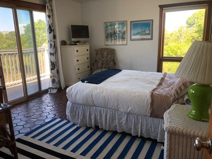 Chilmark Martha's Vineyard vacation rental - Bedroom 3 with Slider to deck and TV