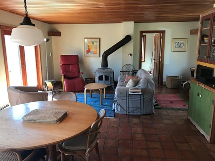 Chilmark Martha's Vineyard vacation rental - Living/dining area--cosy and comfortable. Working woodstove