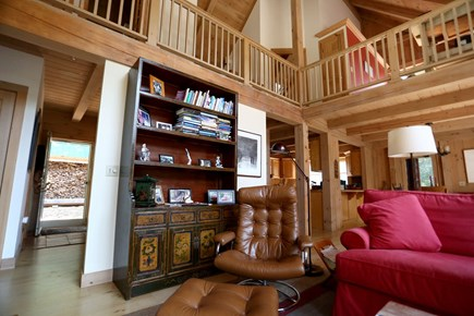 West Tisbury Martha's Vineyard vacation rental - Living room with a glance upward to the 2nd floor
