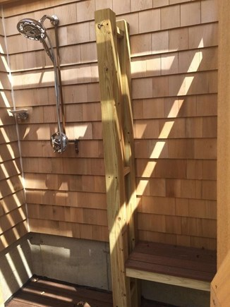 Oak Bluffs Martha's Vineyard vacation rental - Outside shower with modern fixtures and dressing area.