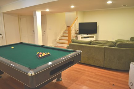 Oak Bluffs Martha's Vineyard vacation rental - Lower Level Recreation Area with Sectional Sofa & Billiard Table
