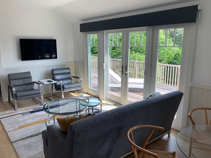 Katama - Edgartown Martha's Vineyard vacation rental - Living area with access to the upper deck