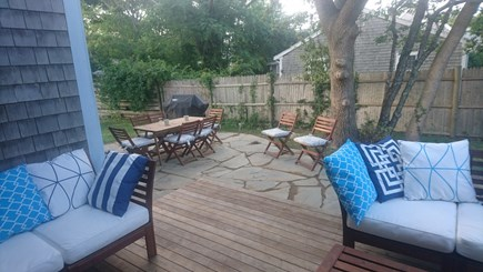 Edgartown, Walking distance to downtown  Martha's Vineyard vacation rental - Deck and patio with outdoor dining and propane grill.