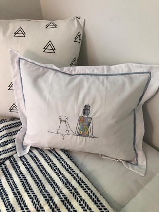 Edgartown Martha's Vineyard vacation rental - Embroidered pillows from adorable shop in Vineyard Haven