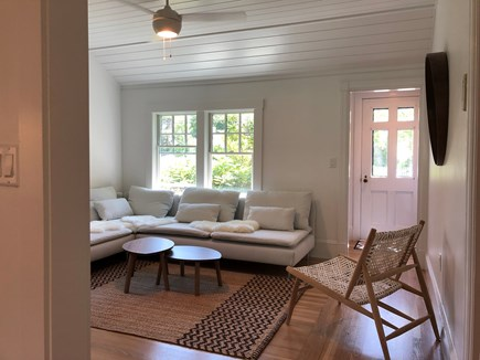 Edgartown Martha's Vineyard vacation rental - Light filled living room with ceiling fan (or AC/Heat)