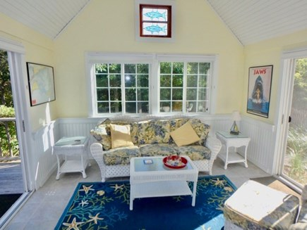 Edgartown Martha's Vineyard vacation rental - Gorgeous sunroom where you can relax and even watch t.v.!