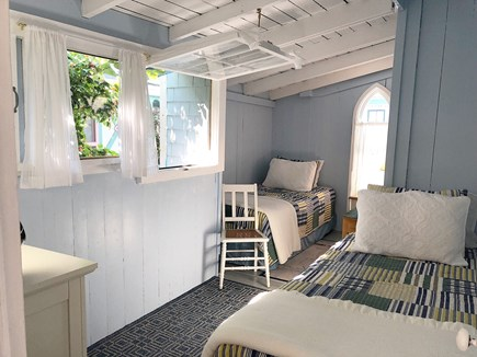 Downtown Oak Bluffs Martha's Vineyard vacation rental - Sunny first floor bedroom, overlooks garden. Two twins