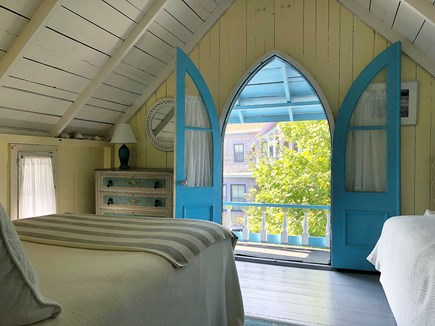 Downtown Oak Bluffs Martha's Vineyard vacation rental - Upstairs arched window room - queen bed and one twin
